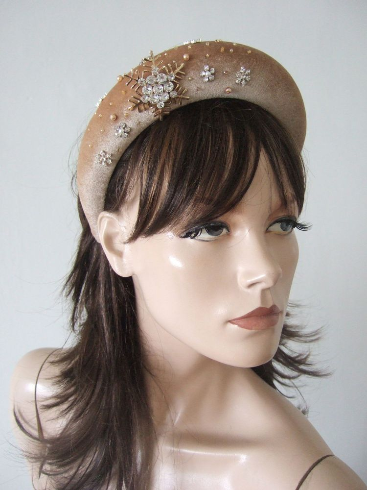 Honey Gold Velvet Thick Padded Wide Headband -Snowflake Gold Crystal Embellished Wedding Bridesmaids